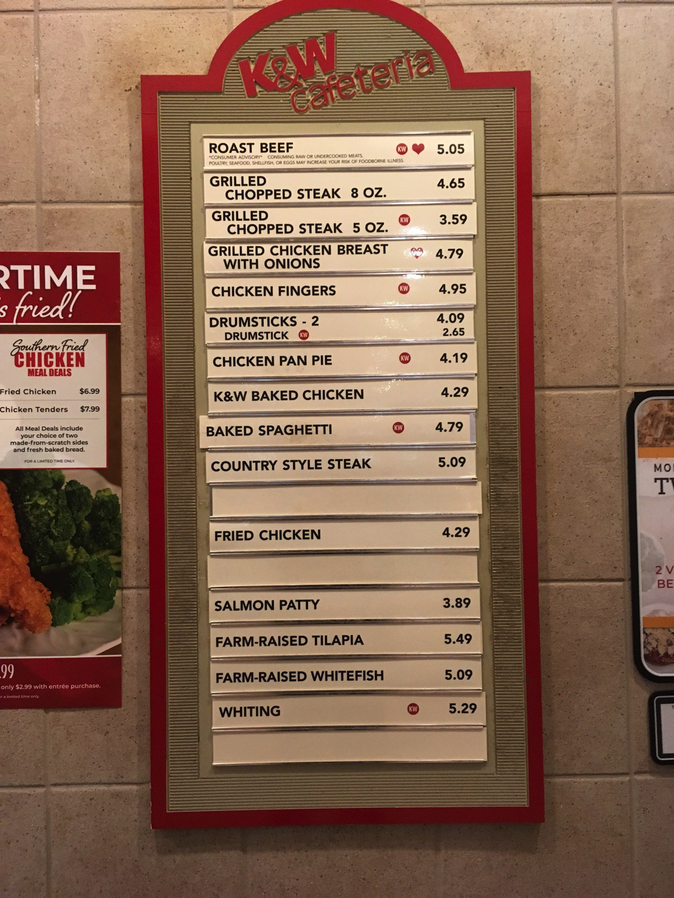 K&W menu board